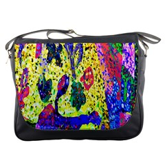 Grunge Abstract Yellow Hand Grunge Effect Layered Images Of Texture And Pattern In Yellow White Black Messenger Bags