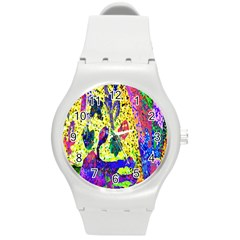 Grunge Abstract Yellow Hand Grunge Effect Layered Images Of Texture And Pattern In Yellow White Black Round Plastic Sport Watch (m)