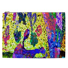 Grunge Abstract Yellow Hand Grunge Effect Layered Images Of Texture And Pattern In Yellow White Black Cosmetic Bag (XXL)