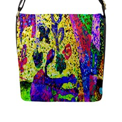 Grunge Abstract Yellow Hand Grunge Effect Layered Images Of Texture And Pattern In Yellow White Black Flap Messenger Bag (L)