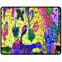 Grunge Abstract Yellow Hand Grunge Effect Layered Images Of Texture And Pattern In Yellow White Black Double Sided Fleece Blanket (Medium)