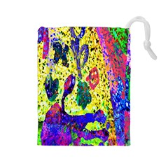 Grunge Abstract Yellow Hand Grunge Effect Layered Images Of Texture And Pattern In Yellow White Black Drawstring Pouches (large)