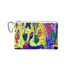 Grunge Abstract Yellow Hand Grunge Effect Layered Images Of Texture And Pattern In Yellow White Black Canvas Cosmetic Bag (S)