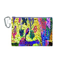 Grunge Abstract Yellow Hand Grunge Effect Layered Images Of Texture And Pattern In Yellow White Black Canvas Cosmetic Bag (m)