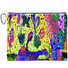 Grunge Abstract Yellow Hand Grunge Effect Layered Images Of Texture And Pattern In Yellow White Black Canvas Cosmetic Bag (XXXL)