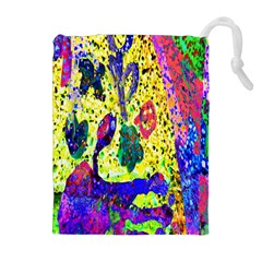 Grunge Abstract Yellow Hand Grunge Effect Layered Images Of Texture And Pattern In Yellow White Black Drawstring Pouches (extra Large)