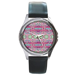 Colorful Seamless Background With Floral Elements Round Metal Watch