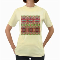 Colorful Seamless Background With Floral Elements Women s Yellow T-Shirt