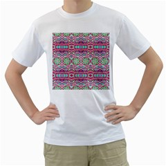Colorful Seamless Background With Floral Elements Men s T Shirt (white) (two Sided)