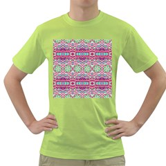 Colorful Seamless Background With Floral Elements Green T Shirt