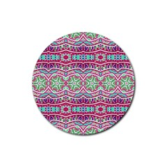 Colorful Seamless Background With Floral Elements Rubber Round Coaster (4 pack)