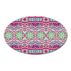 Colorful Seamless Background With Floral Elements Oval Magnet