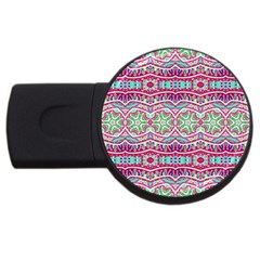 Colorful Seamless Background With Floral Elements USB Flash Drive Round (1 GB)