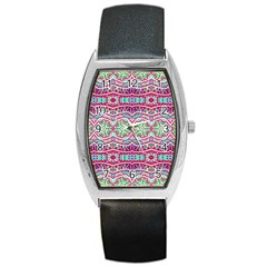 Colorful Seamless Background With Floral Elements Barrel Style Metal Watch