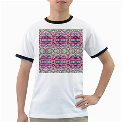 Colorful Seamless Background With Floral Elements Ringer T Shirts