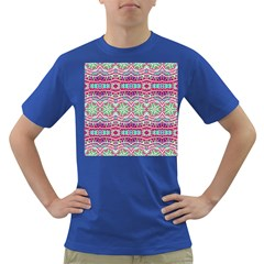 Colorful Seamless Background With Floral Elements Dark T-Shirt