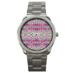 Colorful Seamless Background With Floral Elements Sport Metal Watch