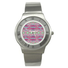 Colorful Seamless Background With Floral Elements Stainless Steel Watch