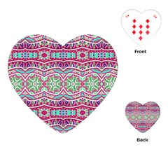 Colorful Seamless Background With Floral Elements Playing Cards (Heart)