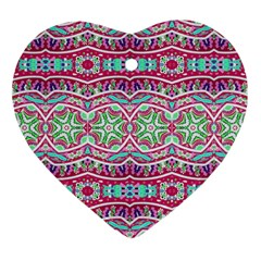 Colorful Seamless Background With Floral Elements Heart Ornament (Two Sides)