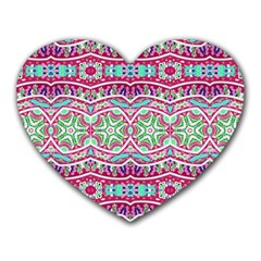 Colorful Seamless Background With Floral Elements Heart Mousepads