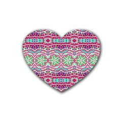 Colorful Seamless Background With Floral Elements Heart Coaster (4 Pack)