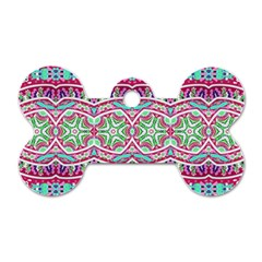 Colorful Seamless Background With Floral Elements Dog Tag Bone (two Sides)