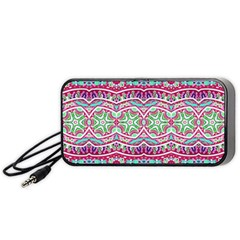 Colorful Seamless Background With Floral Elements Portable Speaker (Black)