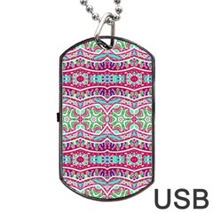 Colorful Seamless Background With Floral Elements Dog Tag Usb Flash (two Sides)