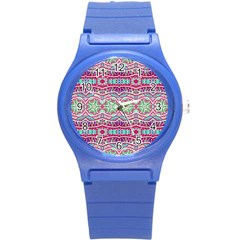 Colorful Seamless Background With Floral Elements Round Plastic Sport Watch (s)