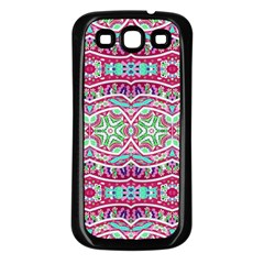 Colorful Seamless Background With Floral Elements Samsung Galaxy S3 Back Case (Black)