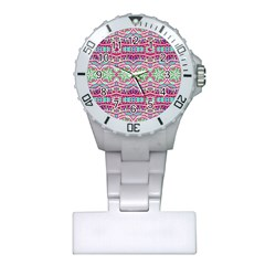 Colorful Seamless Background With Floral Elements Plastic Nurses Watch