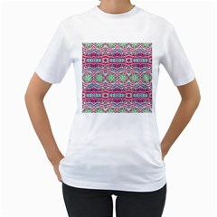 Colorful Seamless Background With Floral Elements Women s T-Shirt (White)