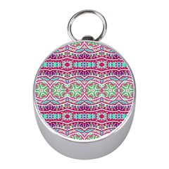 Colorful Seamless Background With Floral Elements Mini Silver Compasses