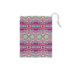 Colorful Seamless Background With Floral Elements Drawstring Pouches (Small)