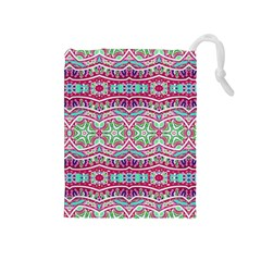 Colorful Seamless Background With Floral Elements Drawstring Pouches (Medium)