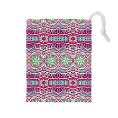Colorful Seamless Background With Floral Elements Drawstring Pouches (Large)