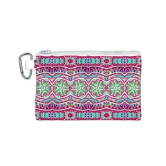 Colorful Seamless Background With Floral Elements Canvas Cosmetic Bag (S)