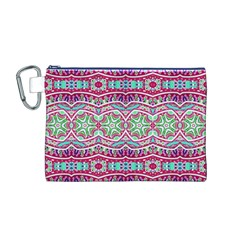 Colorful Seamless Background With Floral Elements Canvas Cosmetic Bag (M)