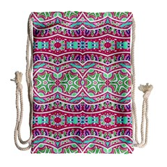 Colorful Seamless Background With Floral Elements Drawstring Bag (large)