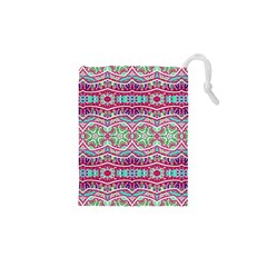 Colorful Seamless Background With Floral Elements Drawstring Pouches (XS)