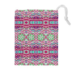 Colorful Seamless Background With Floral Elements Drawstring Pouches (extra Large)
