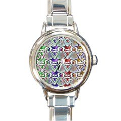 Digital Patterned Ornament Computer Graphic Round Italian Charm Watch