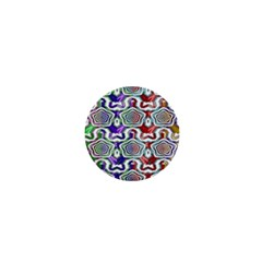 Digital Patterned Ornament Computer Graphic 1  Mini Buttons