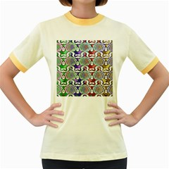Digital Patterned Ornament Computer Graphic Women s Fitted Ringer T-Shirts