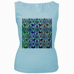 Digital Patterned Ornament Computer Graphic Women s Baby Blue Tank Top