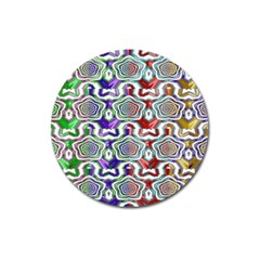 Digital Patterned Ornament Computer Graphic Magnet 3  (Round)