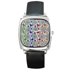Digital Patterned Ornament Computer Graphic Square Metal Watch