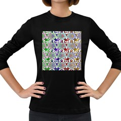 Digital Patterned Ornament Computer Graphic Women s Long Sleeve Dark T-Shirts