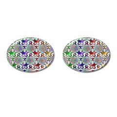 Digital Patterned Ornament Computer Graphic Cufflinks (Oval)